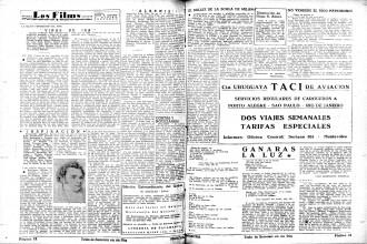 Página de cine de Marcha en 1945, con críticas de Homero Alsina Thevenet y Hugo Alfaro